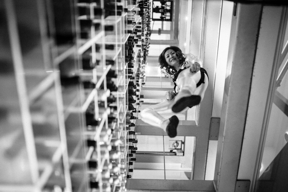 Fetching bottles from Aureole's wine tower is no easy task